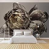 Qqasd Papel de pared 3D Retro Flores Florales Mural Dormitorio Sala de estar Sofá TV Fondo Murales Murales Fondo de pantalla Decoración del hogar-300x210CM