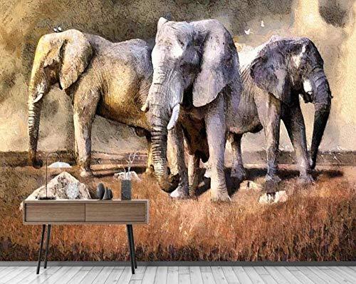 3D fotobehang modern minimalistisch handgeschilderd dierenwereld Afrika olifant achtergrond muurverf 350*245cm #002