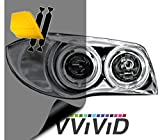 VViViD Air-Tint Extra-Wide Headlight Taillight Vinyl Tint Wrap 16 Inch x 48 Inch Roll Including Yellow Detailer Squeegee & 2X Black Felt Edge Decals (Smoke Black)