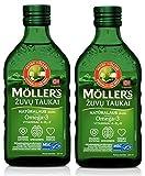 Aceite de Hígado de Bacalao de Pescado de Moller con Omega 3, Vitaminas A, D y E, Sabor Natural 250 Ml Suplemento Líquido Extra Puro de Alta Calidad Hecho en Noruega x 2 Botellas