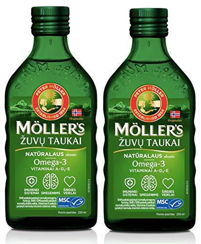 Olio Di Fegato Di Merluzzo Di Pesce Di Moller Con Omega 3, vitamine A, D ed E, aroma Naturale Integratore liquido da 250 ml Extra Puro Di Alta Qualità Made In Norvegia x 2 Bottiglie