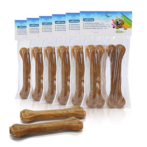 Nobleza - Hueso Prensado para Perros Fortalecedor de Dientes Stick Dental Dog Snack, Hueso de Nudillos de Cuero Crudo, Hueso para morder, 15cm,12pcs