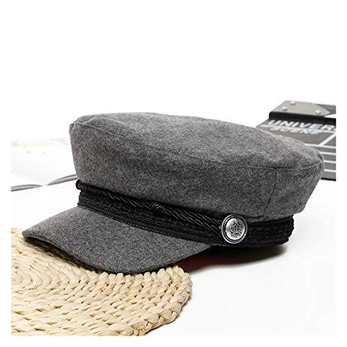 Mjwlgs Vintage Gorra Boina Sombreros de Invierno para Mujeres Estilo francés Lana Panadero Sombrero Nuevo Fresco Mujer béisbol Gorra Negro Visor Sombrero (Color : Grey 1)