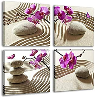 Butterfly Orchids Flowers Painting Artwork Zen Spa Purple Floral on White Balance Stones 4 Panel Modern Canvas Picture Print Wall Art for Living Room Decoration