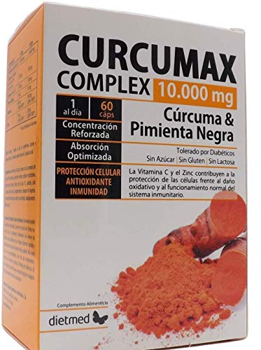 Dietmed CURCUMAX, Curcuma + Piperina (pimienta negra) /10.000 MG por capsulas / 95% Curcumina, 100% vegano,60 Cápsulas de Cúrcuma, ZINC y VITAMINA C, Turmeric