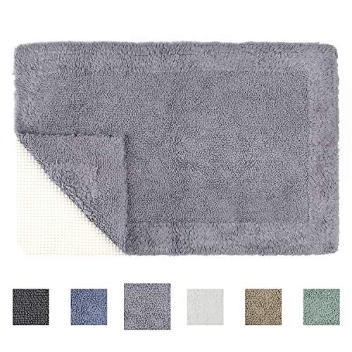 TOMORO Cotton Non-Slip Bathroom Rug Super Absorbent Soft - Luxury Hotel Linens Reversible Non-Skid Door and Bath Mat with Non-Slip Rug Pad