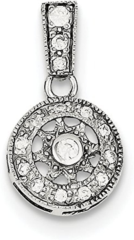 Diamond2Deal 925 Sterling Silver CZ Fancy Chain Slide Pendant