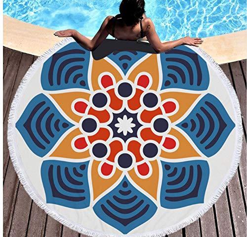Ronde strandbadhanddoek met kwastjes microvezel absorberend 150x150cm picknick yogamat sprei tapijt deken buiten