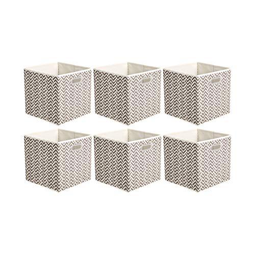 Amazon Basics - Cubi portaoggetti pieghevoli in tessuto con anelli di rinforzo ovali - Confezione da 6, motivo a zig-zag - Grigio talpa