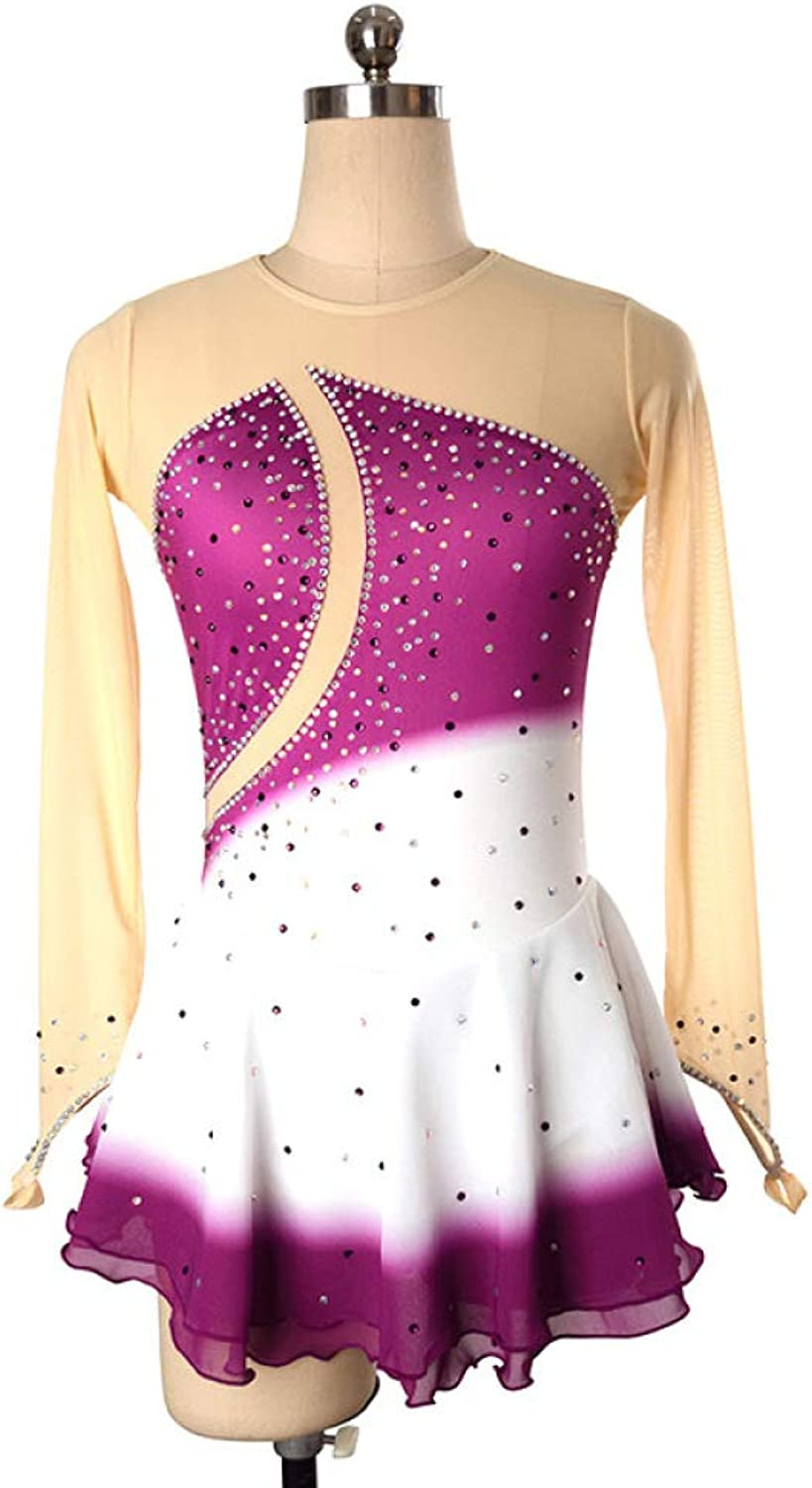 Women Girl Skating Wear,High Elasticity Professional Competition Breathable Ice Skating Dress Handmade Long Sleeve Figure Skating Dress,A-L