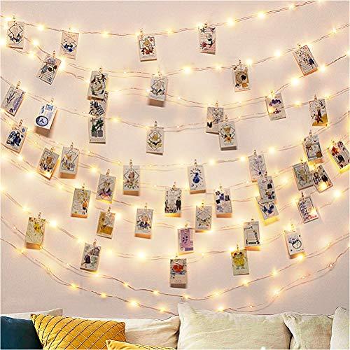 Led Fotoclips Lichterkette Mit 50 Klammern 10m 50 Foto Clips Lichterkette Dekoration für innen Haus Weihnachten Hochzeit Schlafzimmer Hängendes Foto Party