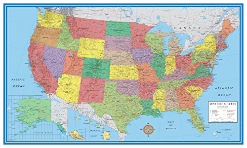 24x36 United States, USA Classic Elite Wall Map Mural Poster (Paper Folded)