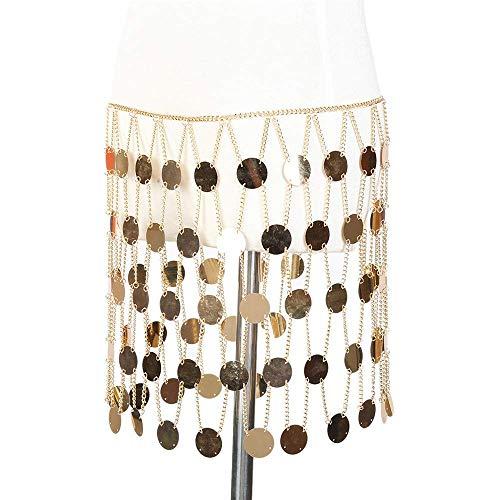 Cremación Memorial Body Chain Neckle for mujer Falda con lentejuelas sexy Cadena de cintura Rhinestone Crystal Body Chain Summer Beh Body Waist Chain Jewelry for fiesta Beh Piscina (Color: plata), Col