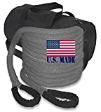 BILLET4X4 U.S. Made Gunmetal Grey Safe-T-Line Kinetic Recovery (Snatch) Rope - 1 inch X 30 ft with...