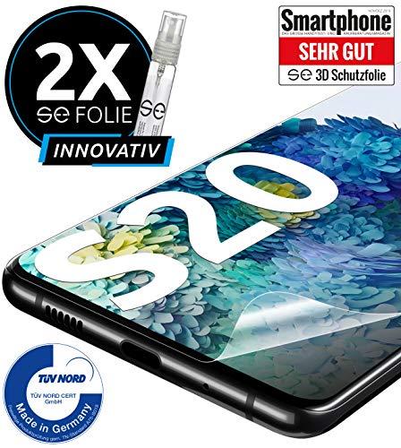 [2 Stück] 3D Schutzfolien kompatibel mit Samsung Galaxy S20 - [Made in Germany - TÜV Nord] - 100% Fingerabdrucksensor – Hüllenfreundlich – Transparent – kein Glas sondern Panzerfolie TPU