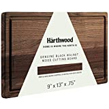 """Härthwood Walnut Wood Cutting Board with Juice Groove (9""""x13"""")   Genuine North American Black Walnut Prep & Serve Block Chopping & Carving   Coconut Seasoning Oil Included Gift Packaging"""