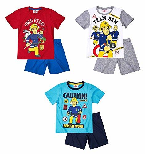 Feuerwehrmann Sam Jungen Pyjama Schlafanzug Shorty 2016 Kollektion - blau (116)
