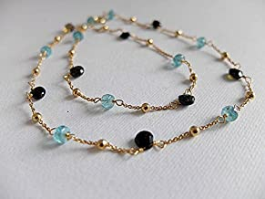 Beautiful Apatite and black tourmaline necklace,gold filled necklace,Neon blue Apatite ,black tourmaline heart shaped gemstone necklace 5-6 mm