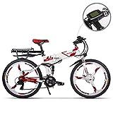GUOWEI Rich Bit RT-860 36V 12.8AH 250W Bicicletta elettrica Pieghevole a Sospensione Completa City Bike (White-Red)