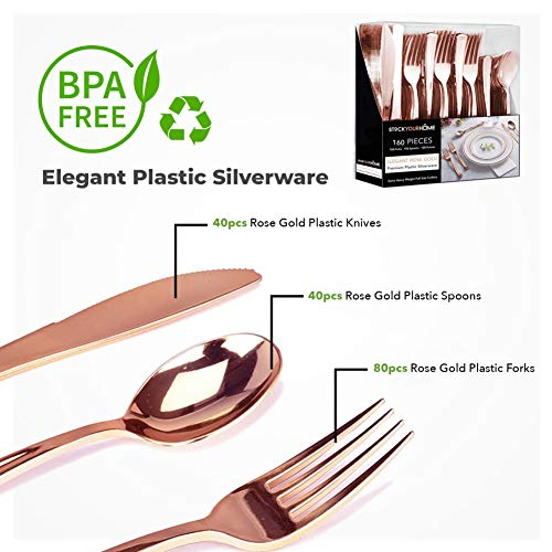 Plastic Cutlery Heavy Duty - 160 Piece Rose Gold Plastic Silverware - Rose Gold Plastic Utensils - Pink Plastic Cutlery – 80 Plastic Forks, 40 Plastic Spoons, 40 Plastic Knives