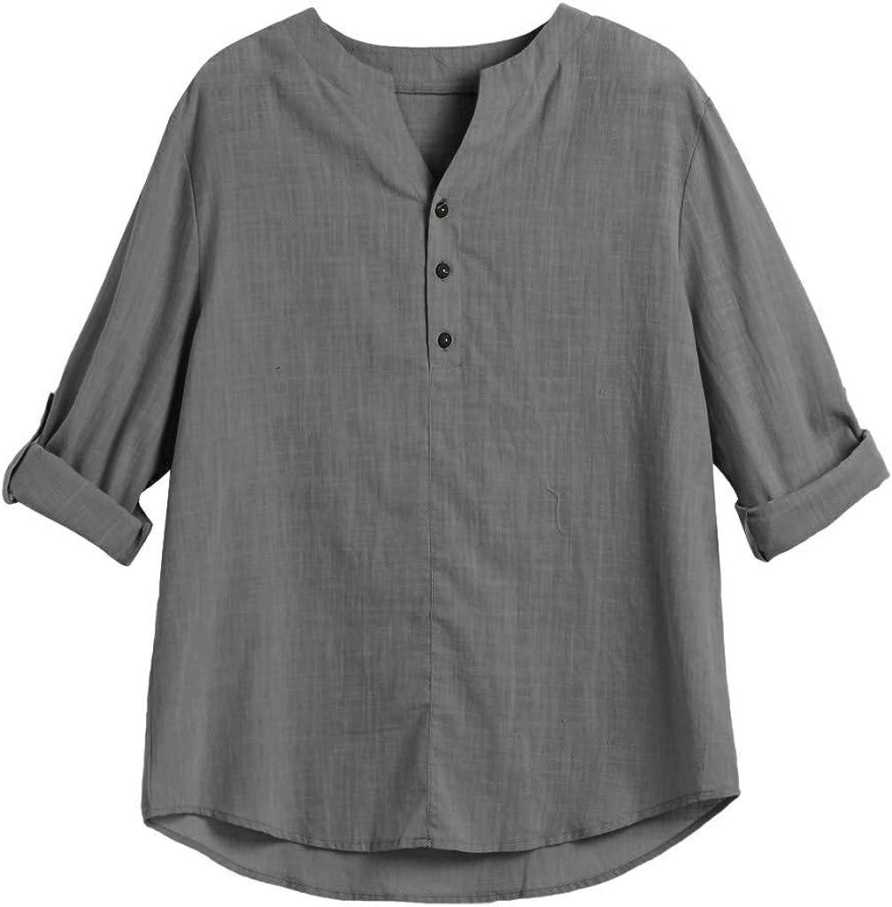 PASATO New Mens Long Sleeve Henley Shirt Leisure Beach Yoga Loose Fit Tops Blouse Hippie Shirt V-Neck Beach Yoga Top