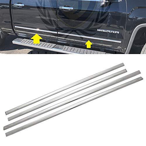 LJ International Quality Accessories Triple Chrome Plated Side Molding Belt Trims for Chevrolet Silverado+GMC Sierra
