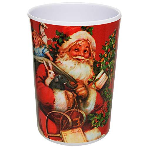 alles-meine.de GmbH 3 in 1 - Trinkbecher / Zahnputzbecher / Malbecher - Becher - Weihnachten - Weihnachtsmann & Weihnachtsbaum - 350 ml - mehrweg - Trinkglas aus Melamin - Kunsts..