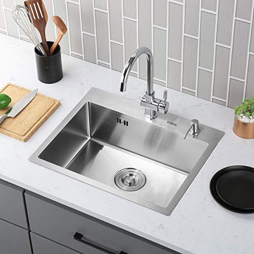 KAIBOR Lavello lavabo in acciaio 304 inox cucina per mobile base 60 cm con 2 fori di montaggio, Riduttore di rumore, lavabo da incasso quadrato lavello una vasca inox a incasso 55x45x19cm