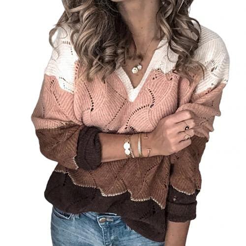 2021 maglione Donne Autunno Inverno Scollo a V Manica Lunga Blocco di Colore Maglia Maglione Hollow Abbigliamento delle donne свитер женский (colore : Rosa, Taglia : XL)