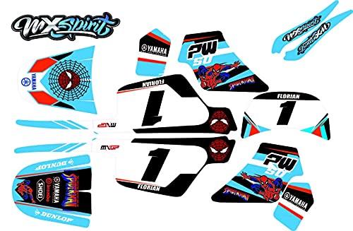 MXSPIRIT Kit déco Stickers Spiderman Speederman pour Moto Cross PW50 PW 50 pw50 PW 50 Piwi 50PW 50pw piwi Peewee Qualité Standard + 2 Stickers Offert