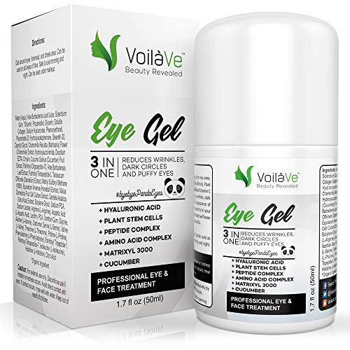 VoilaVe 3 in 1 Eye gel, Anti Aging Under Eye Cream with Pure Hyaluronic Acid, Reduce Eye Puffiness & Dark Circles, Anti Wrinkle Cream with Essential Amino Acids, Airless Pump, 1.7 fl oz