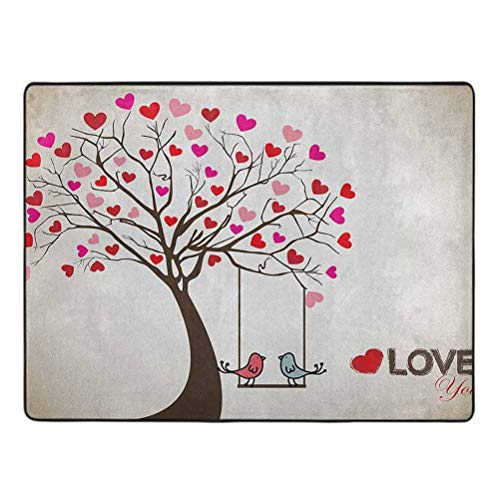 Love Area Rug, Heart Leaves on Tree with Birds in Love on a Swing Cute Cartoon for Valentines Day, 3' x 5' Protection and Cushion for Area Rugs and Floors, Multicolor