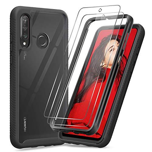 LeYi Hülle für Xiaomi Redmi Note 8 Mit [2 Stück] Folie Panzerglas,Durchsichtig Stoßfest Handyhülle Transparent Silikon Schutzhülle Hard PC Weich Slim TPU Bumper Clear Cover für Redmi Note 8 schwarz