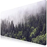 iCasso Extended Gaming Mouse Pad (35.4x15.7 in), Large Non-Slip Rubber Base Mousepad with Stitched Edges, Waterproof Keyboard Mouse Mat Desk Pad for Work, Game, Office, Home - Forest