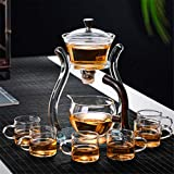 Aoheuo Lazy Kungfu Glass Tea Set Magnetic Water Diversion Rotating Cover Bowl Semi-Automatic Glass Teapot Suit (Crystal Glass)