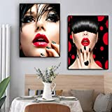 dsdsgog Poster Wanddrucke Kunst Rote Lippen Frau Malerei