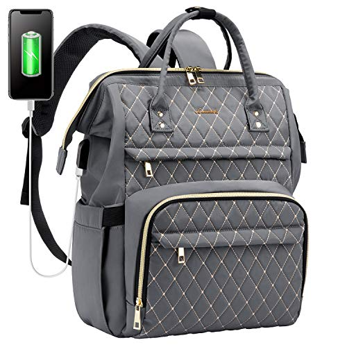 LOVEVOOK Rucksack Damen mit Laptopfach 15,6 Zoll, Schulrucksack mädchen teenager, Laptop Rucksack wasserdicht,Tasche mit USB Ladeanschluss, Rucksack Grau