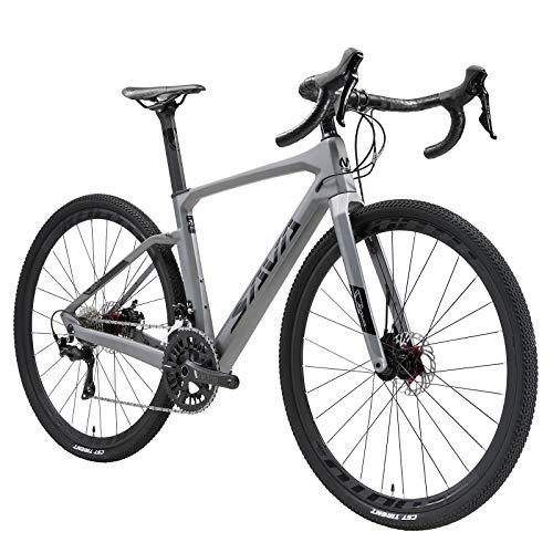 SAVADECK Bicicleta Carretera Carbona Gravel, 700CX40C Trail de Carbono Grava con Shimano 105 R7000 22 Velocidad, Freno de Disco hidráulico Bicicleta para Hombres Mujeres (Negro-Gris, 54cm)