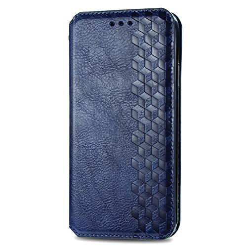 VGANA Tasche Hülle für Moto Motorola G8 Power Lite, Brieftasche Handyhülle Retro Muster mit Magnetverschluss & Ständer Funktion Schutzhülle. Blau