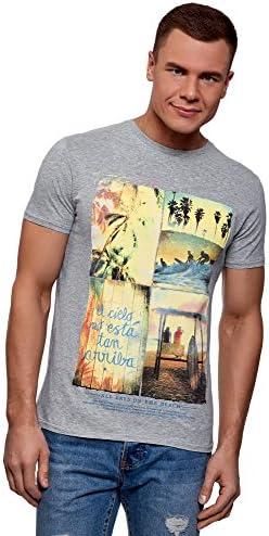oodji Ultra Hombre Camiseta Ancha con Estampado de Playa