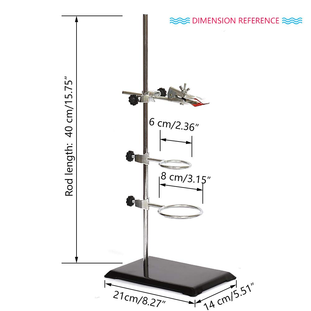 XMWangzi Laboratory Retort Support Stand for Titration Extraction Used in Chemistry or Physics Lab RodLength 16 with a Burette Clamp and 2 Flask Ring Clamps