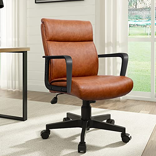 Executive Office Chair Big Leather Ergonomic Computer Managerial Chair with Armrests Comfortable Backrest, Adjustable Heavy Duty Office Chair Brown, by Artswish