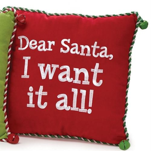 "Burton & Burton Santa I Want It All Pillow Multi Warm 12"" Square"