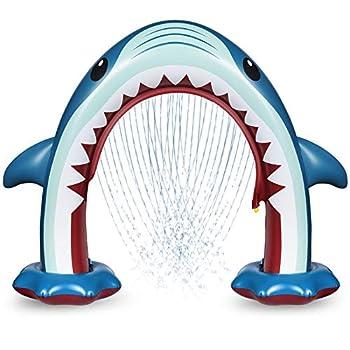 Anpro Giant Shark Sprinkler for Kids Inflatable Water Toys Summer Outdoor Play Sprinkler for Kids