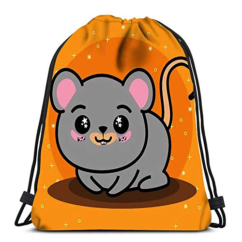 Drawstring Backpack Bags Sports Cinch Cute and Lovely Mouse Animal Cartoon Design for School Gym