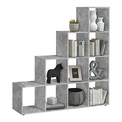 FMD furniture Treppenregal Raumteiler Bücherregal Raumtrenner 10 Fächer, in Betongrau 138,5 x 141,5 x 32,6 cm (BxHxT)