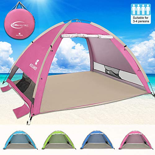 G4Free Large Pop Up Beach Tent 3-4 Person Sun Shelter Portable Automatic Cabana UPF 50+ Anti UV Sun Shade(Pink)