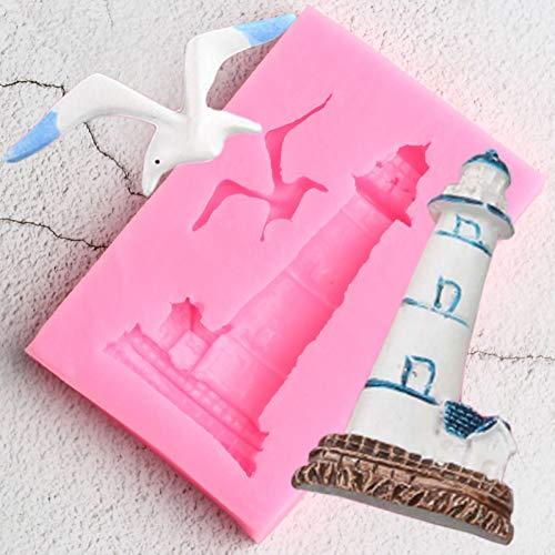 TAOYUE Leuchtturm Vogel Silikonform Möwe DIY Kuchen Dekorationswerkzeuge Cupcake Cookie Backformen Candy Clay Schokoladen Gumpaste Formen