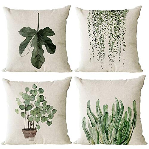 Monkeysell Decorative Pillow Covers,4 Pack of Green Plant Pattern Cotton Linen Throw Pillow Case Cushion Cover Home Décor Sofa Decorative Pillow 18 X 18 Inch (Green Plant)
