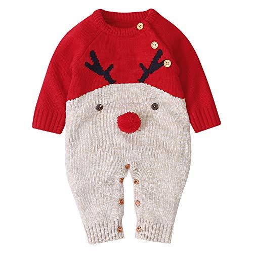 ANIMQUE Baby Strampler Stricke Body Pullover Rudolf Rentier Rot Gr.90